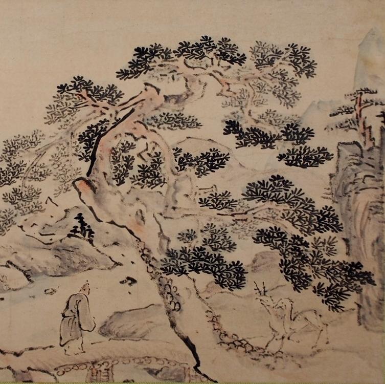 池大雅筆鹿松山水図
